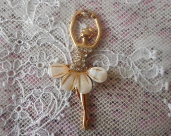 Gold metal, rhinestones and resin tutu ballet dancer charm 5.50 cm high
