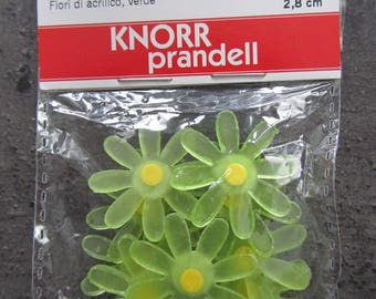 Pack of 10 flowers decor acrylic green yellow heart
