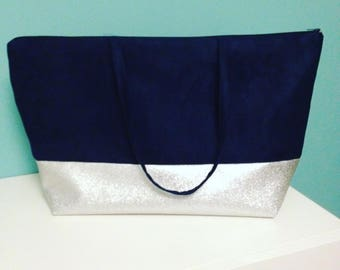 Large tote in Navy Blue and silver