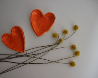 Set of Two Love Heart Ring Dishes in a Bright Orange Glaze