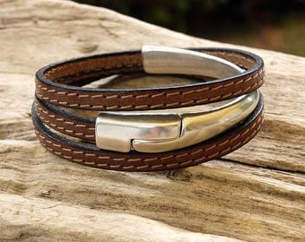 Bracelet leather stitched Brown clasp magnetic half-Bangle - 3 turns - women Leather Bracelet