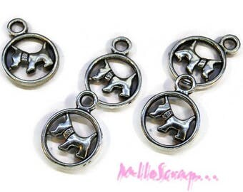 """Set of 5 dogs charms """"chippie"""" scrapbooking embellishment *."""
