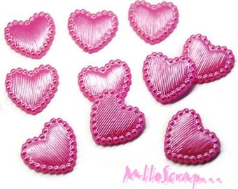 Pink clear embellishment scrapbooking set of 10 hearts *.