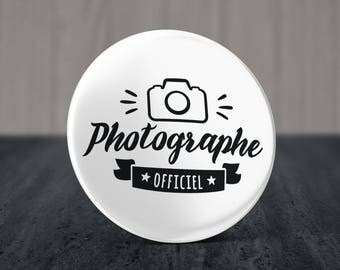 Pinback Button, Magnet or Mirror 58 mm Official Photographer - Photo Pinback Button - Badge Photogapher - Photobooth Pinback button