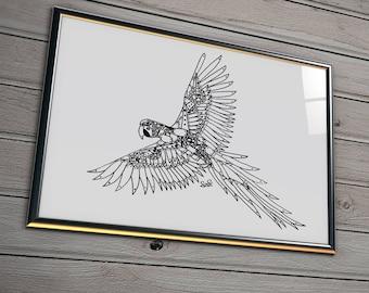 Robot Parrot Print, Steampunk Bird Drawing, Machine Wall Art, Clockwork Animal Decor, Macaw Lover Gift, Unframed Parrots Picture, Cogs