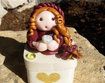 Fairy figurine teeth box- Princess figurine - Treasure and jewelry fairy box - Girl bedroom decoration - Gift baby birthday- Fairy princess