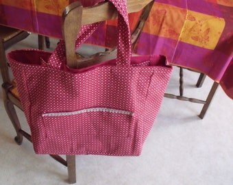 Burgundy colored heart print fabric shopping bag