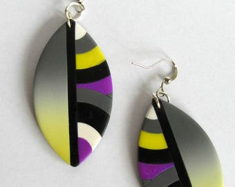 Earrings yellow, gray, purple, polymer clay, feather, round pattern, gradation, bullet shape.