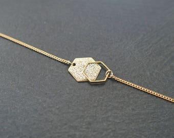 Minimalist bracelet Hexagon glitter gold - enameled jewelry