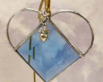 Stained Glass, DECEMBER Birthstone, Birthstone Heart, Blue Zircon, Blue Topaz, Heart, Stained Glass Suncatcher, Handmade in USA, Sun Catcher