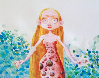 Watercolor THE GIRL WITH THE PLANET DRESS - painting - illustration - original