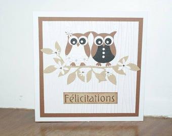 Card congratulations, handmade, wedding, owls