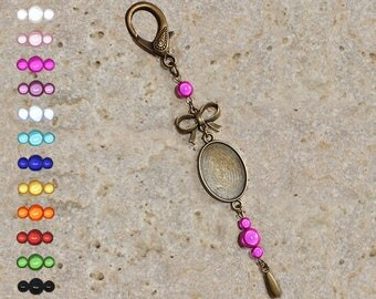 Support cabochon 18 X 25 mm for bag charm or door key, bow