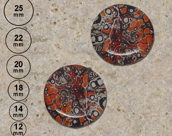2 cabochons marbling pattern, orange 25 mm 22 mm 20 mm 18 mm 14 mm 12 mm