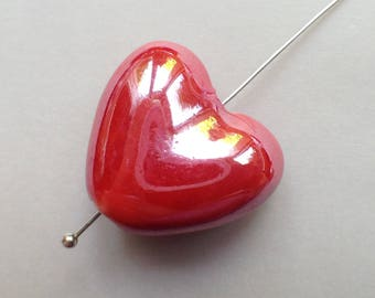 porcelain red 1pc heart Bead 20mm /8/ iridescent glazed earthenware pottery