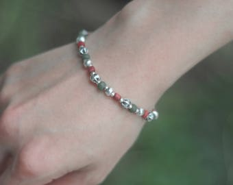 Hilltribe Style Bracelet , Silver Bracelet,Tribal Silver Bracelet,beaded bracelets, gift for her