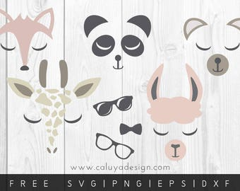 FREE SVG & PNG Link | Animal Faces Files, svg, png, dxf, eps | Commercial Use | circuit, cameo silhouette | Panda, Fox, Giraffe Clipart