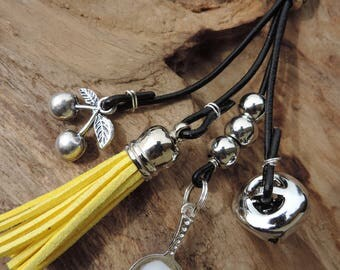 Bag charm, Keychain, genuine black leather, kitchen, gourmet, egg, cherries, Bell, yellow tassel.