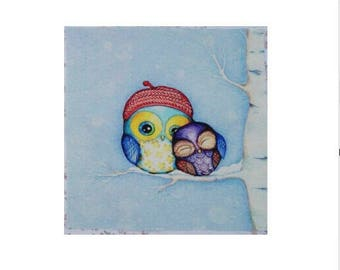 2 small owls Patchwork fabric coupon