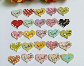 Set of 10 wooden hearts buttons LOVE...