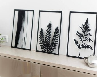leaf wall art, plants wall art, leaves wall art, laser cut design, tropical print, tropical decor, office decor, living room decor