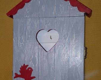 Grey and Red shabby wooden key box