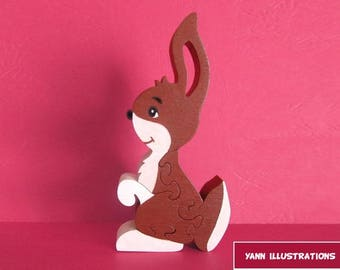 Puzzle rabbit 4 wooden fretwork