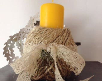 Cottage chic decor candle
