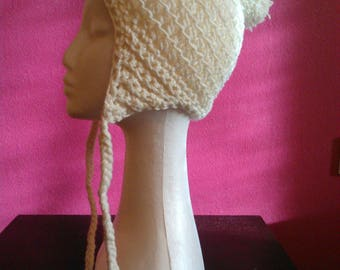 Cream-colored earflap Hat