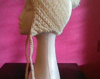 Bonnet femme cache-oreilles couleur crème