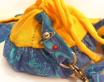 Belt - mini purse removable printed yellow gold
