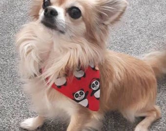 "Designer Dog Bandanas for Dogs, Cats & Puppies in Red Panda design - ""The Pandana"" by The Bandana Cabana"