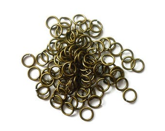 set of 100 rings metal bronze 4mm