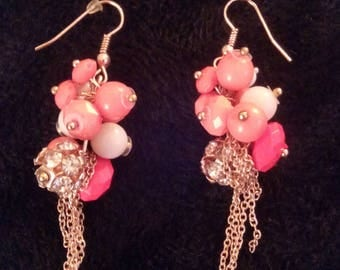 Pierced with several colored beads earrings