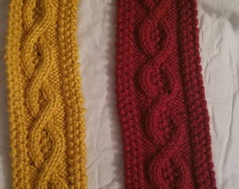 Knit Cable Garnet & Gold Scarf