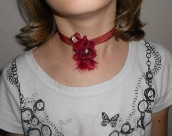 "Burgundy flower ""wedding procession"" Ribbon necklace"