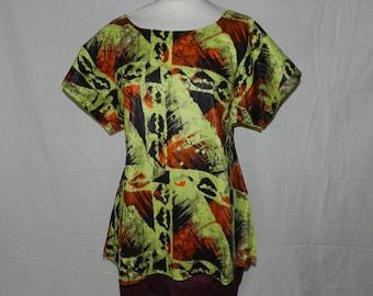 Tunic blouse small round geometric cotton fabric T34-42
