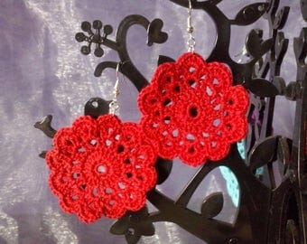 Cotton red earrings
