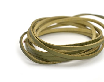 Olive green faux leather and suede cord