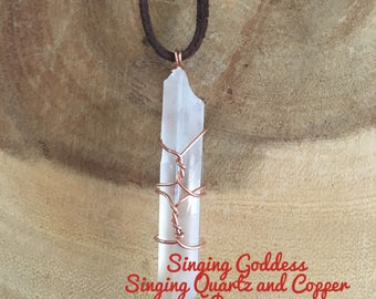 """Clear """"Singing"""" Wire Wrapped Quartz Point (Free Shipping)"""