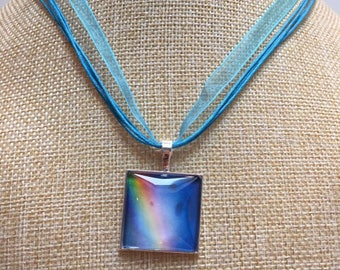 Rainbow sky blue cabochon necklace