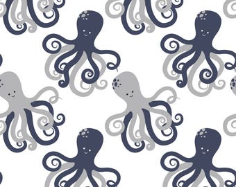 Cotton Jersey maritim Octopus Octopus white