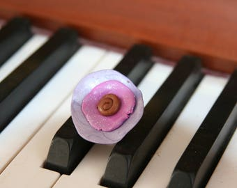 Purple polymer clay Adjustable ring
