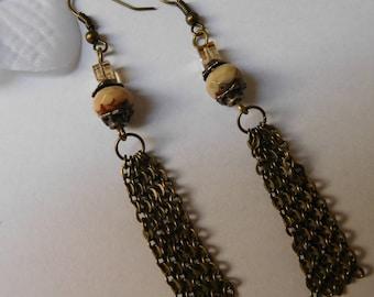 Long earrings bead faceted swarovski crystal bead