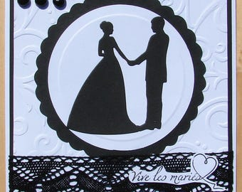 card vivid black and white silhouette married couple lace