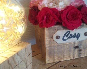 """Upcycled wood centerpiece square """"Cozy"""" '"""