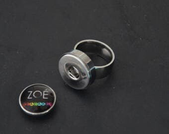 Ring stainless steel medium Cabochon snap 18-20mm (available in 5 sizes)