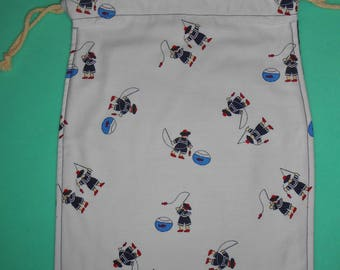 Bag / pouch fully lined with DrawString - fabric small sailors - new, handmade