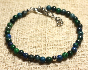 Bracelet 925 sterling silver and semi precious Chrysocolla 4 mm