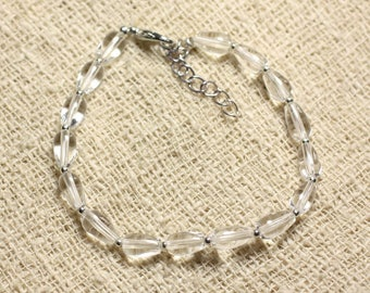 Bracelet 925 sterling silver and stone - clear Quartz drops 8x5mm
